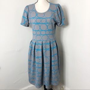 LuLaRoe Grey Blue Circle Print Amelia Dress L